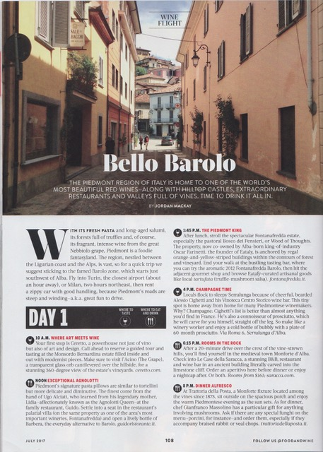 Fratelli Alessandria On Food & Wine's Required Barolo Trip List